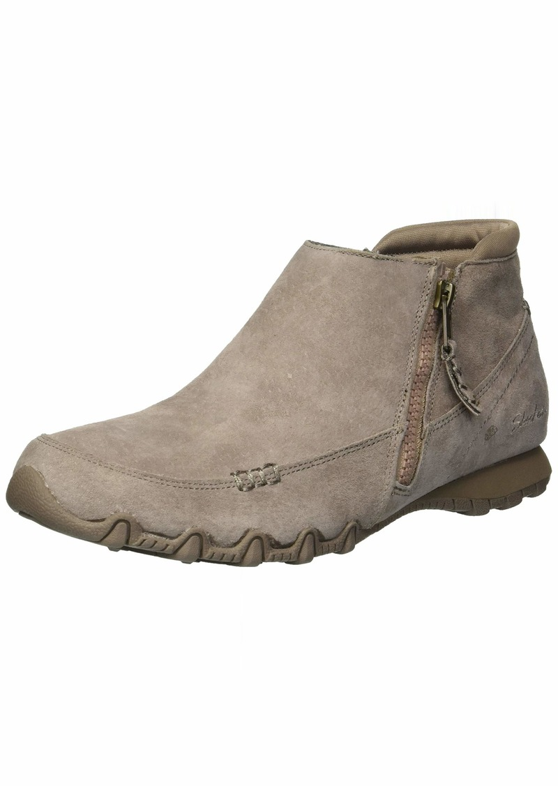 Skechers Women's Bikers-ZIPPIEST-Moc-Toe Outside Zip Bootie Ankle Boot   M US