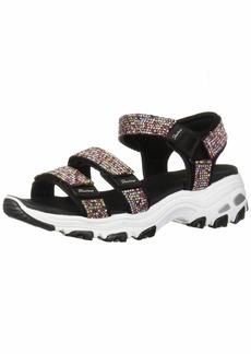 Skechers Women's D'Lites - Bright Light - Multi Rhinestone Quarter Strap Sport Sandal Black  M US