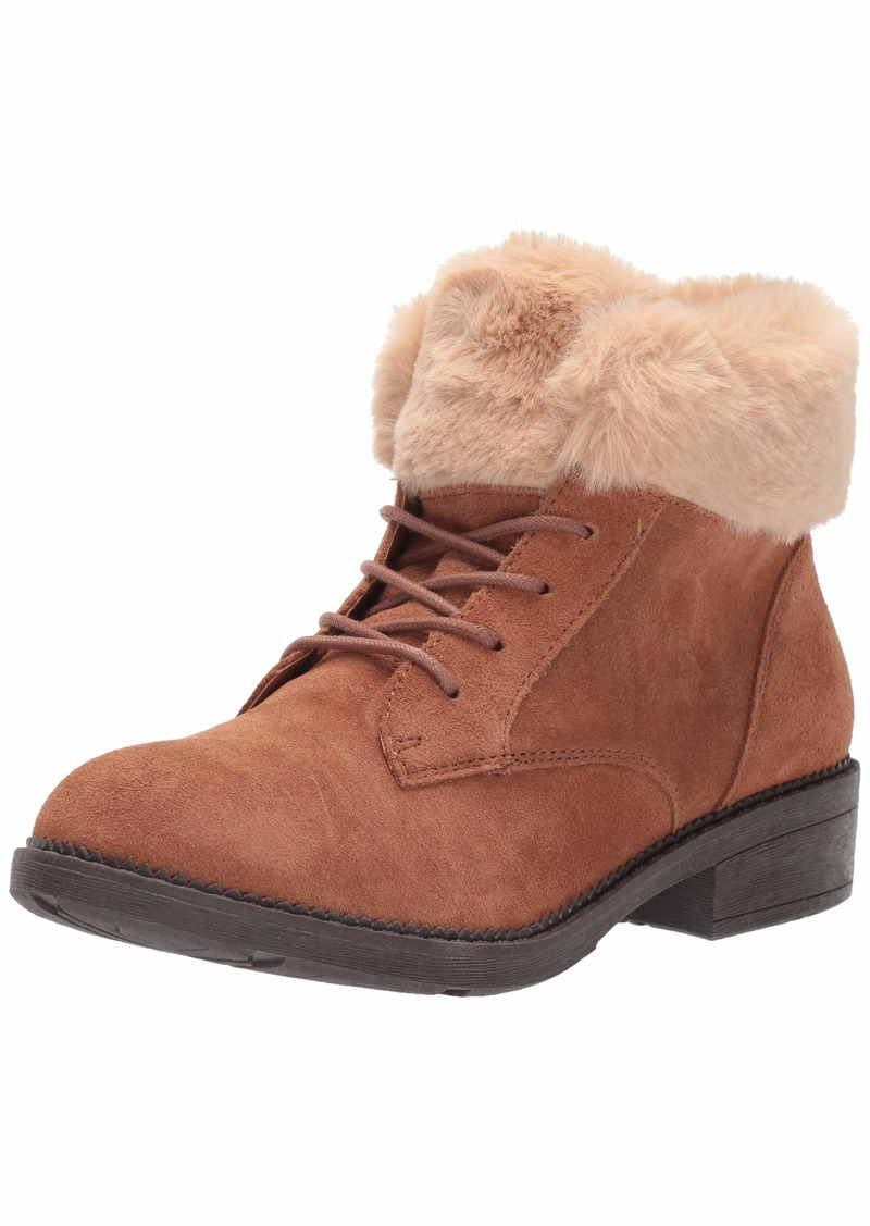 Skechers Women's ELM-Shot Lace Up Boot with Fur Collar Fashion   M US