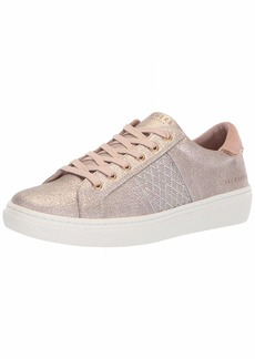 Skechers Women's Goldie-Glitzy Mitzy. Quilted Rhinestone qtr Trim Metallic lace up. Sneaker