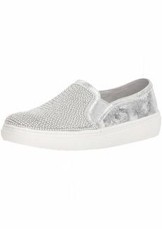 Skechers Women's Goldie-Rhinestone and Pearl Embellished Slip on Sneaker SIL  M US