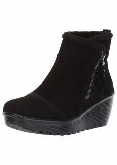 Skechers Women's Parallel-Zip up Wedge Casual Comfort Ankle Boot Fashion Black  M US