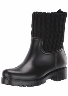 Skechers Women's Pouring-Short Knit Collar Rainboot-Waterproof Outsole Rain Boot   M US