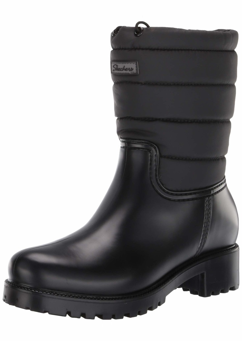 Skechers Women's Pouring-Tall Mid Puffy Shaft Rainboot-Waterproof Outsole Rain Boot   M US