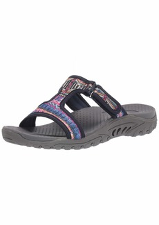 Skechers Women's Reggae-Sequence-Sequined T-Strap Slide Sandal   M US