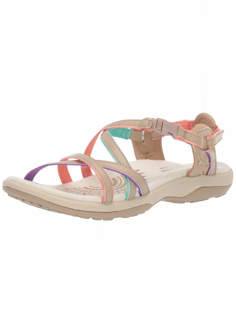 Skechers Women's Reggae Slim-Multi-Colored Strappy Adjustable Slingback-Vacay Sandal   M US