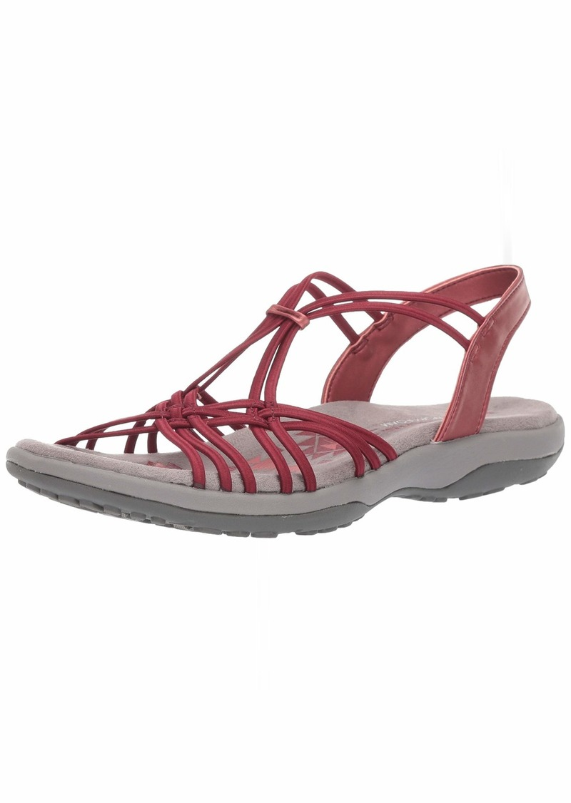 Skechers Women's Reggae Slim-Slip Spliced-Gore Slingback Sandal red  M US