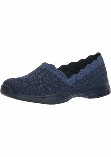 Skechers Women's Seager-Diamante-Engineered Knit Scallop Collar Slip On Loafer   M US
