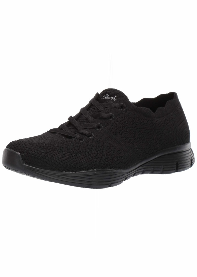 Skechers Women's Seager-Try Outs-Engineered Knit Scalloped Collar Bungee Sneaker Black  M US