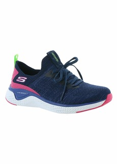 Skechers Women's Stretch Flat Knit Laced Slip Sneaker NVMT/Blue  M US