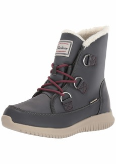 Skechers Women's Ultra Flex-Waterproof Short Lace Up Boot with Sherpa Trim Ankle   M US