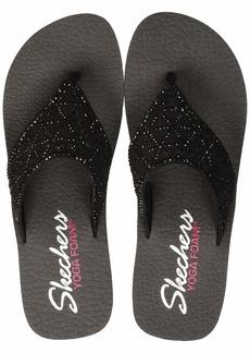 Skechers Women's Vinyasa-Glass Star-Laser Cut Rhinestone Flip Flop Black  M US