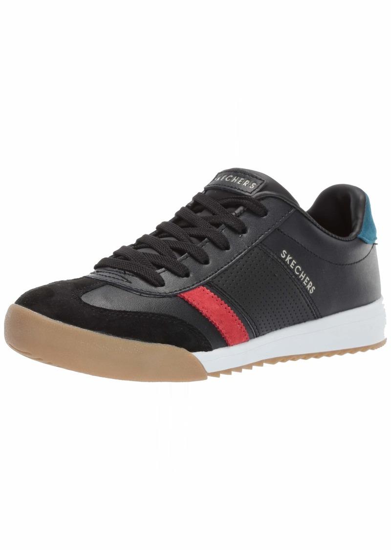 Skechers Women's Zinger Rockers. Leather and Suede Retro Trainer Sneaker BKRD  M US