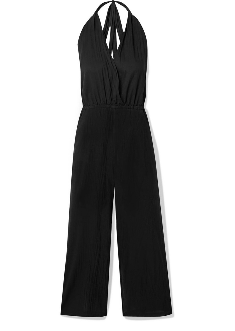 skin Bardot Wrap-effect Cotton-voile Halterneck Jumpsuit