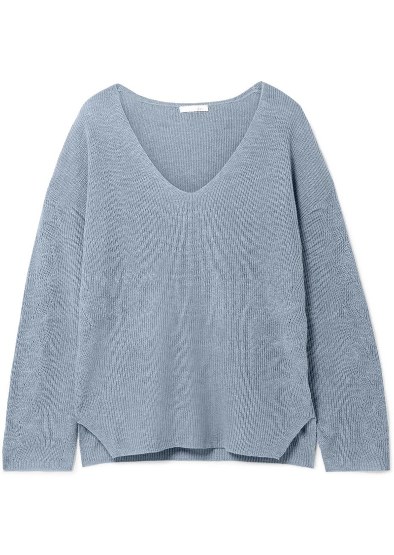 skin Claudia Ribbed Cotton-blend Pajama Top