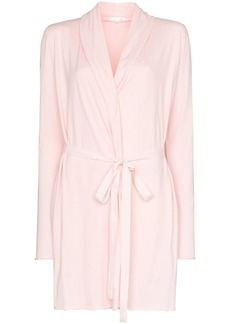skin double layer tie-waist robe