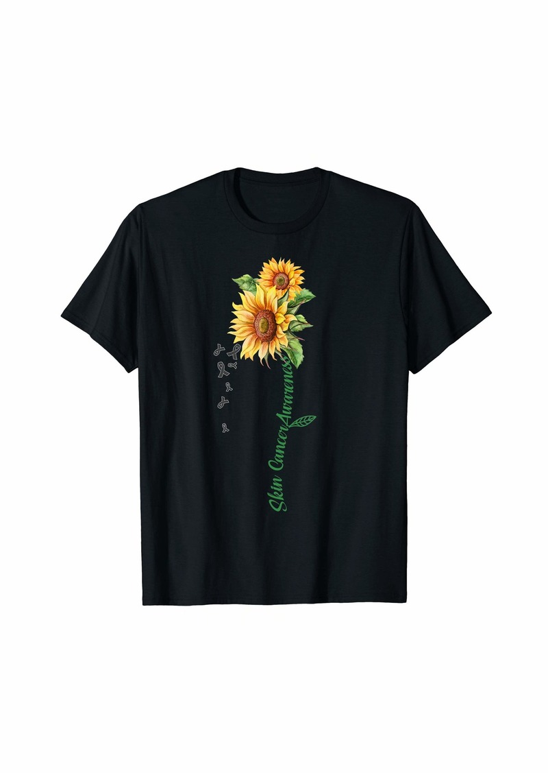 Skin Cancer Awareness Sunflower - Black Ribbon Sunflower T-Shirt