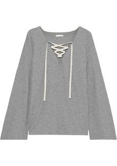 Skin Woman Elyse Lace-up Waffle-knit Cotton-blend Pajama Top Gray