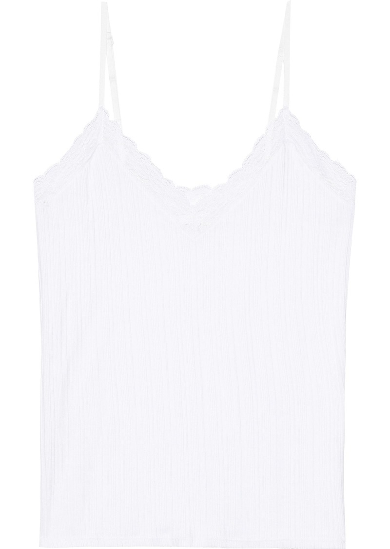 Skin Woman Lace-trimmed Ribbed Pima Cotton-jersey Tank White