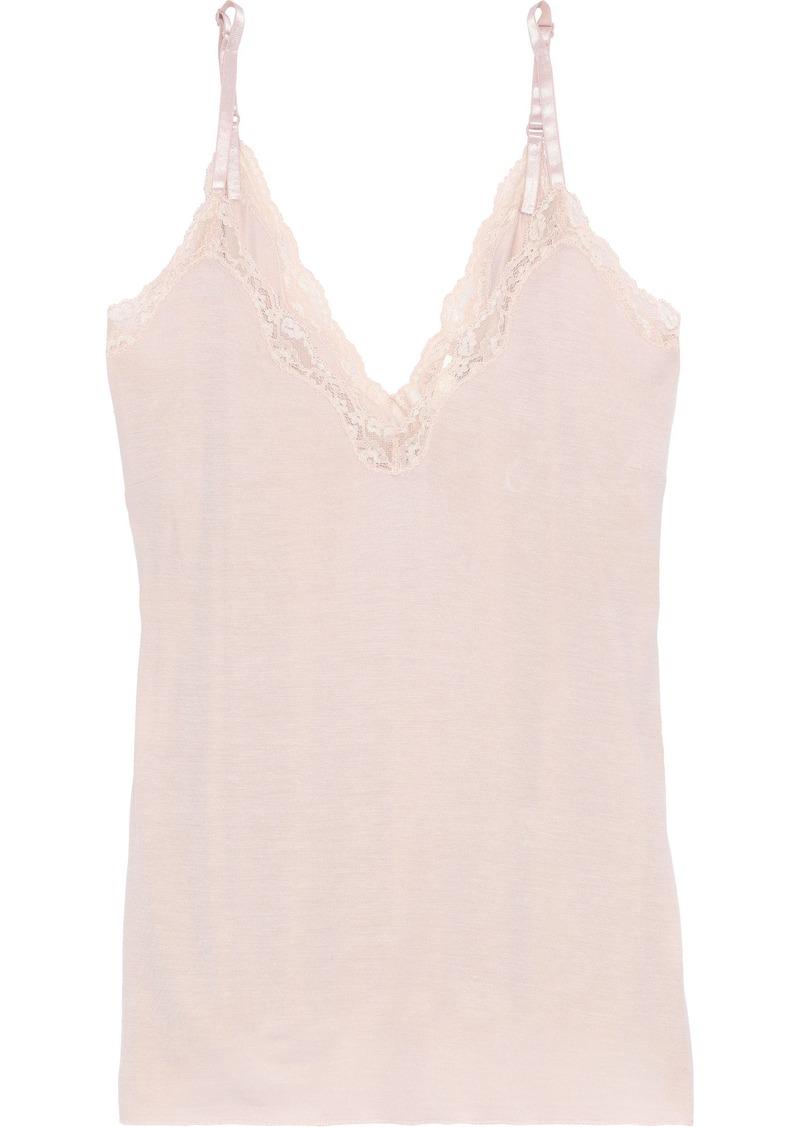 Skin Woman Lace-trimmed Slub Jersey Camisole Pastel Pink