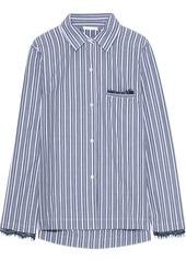 Skin Woman Lace-trimmed Striped Cotton-poplin Pajama Shirt Blue
