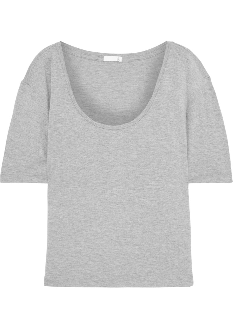 Skin Woman Luisa Mélange Stretch-jersey T-shirt Gray