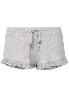 Skin Woman Raffaela Ruffle-trimmed Ribbed Pima Cotton-jersey Pajama Shorts Stone