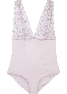 Skin Woman Wren Embroidered Lace-paneled Stretch Organic Pima Cotton-jersey Bodysuit Lilac