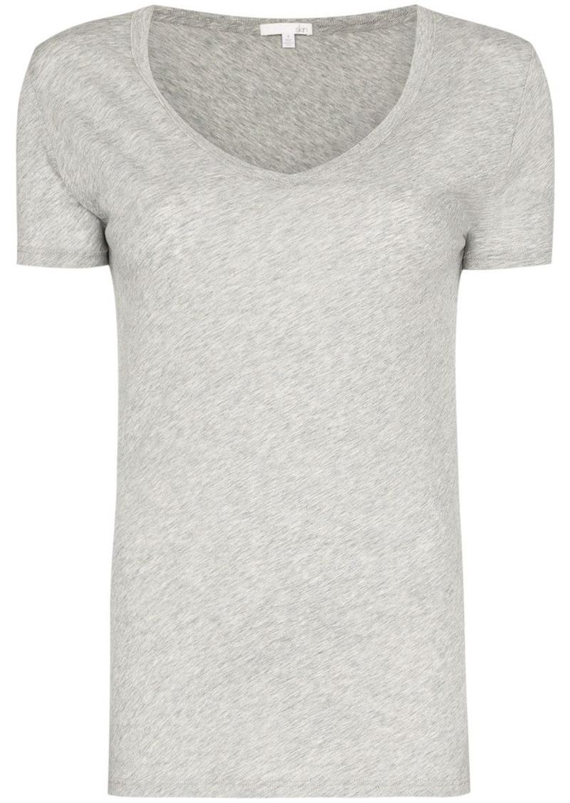 skin V-neck fitted T-shirt