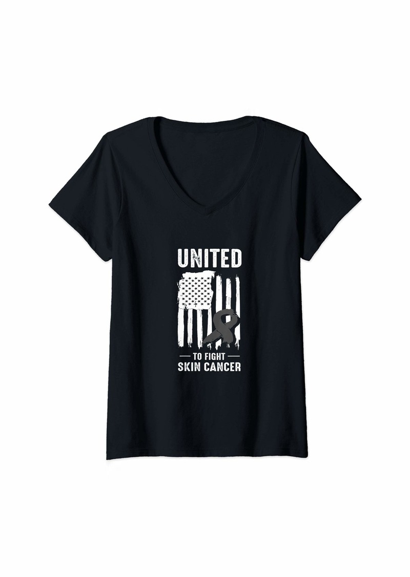 Womens Americans United Against Skin Cancer V-Neck T-Shirt