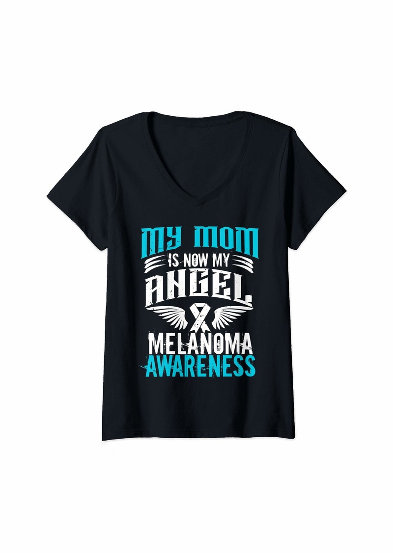 Womens Mom Melanoma Skin Cancer Awareness Angel Gift V-Neck T-Shirt