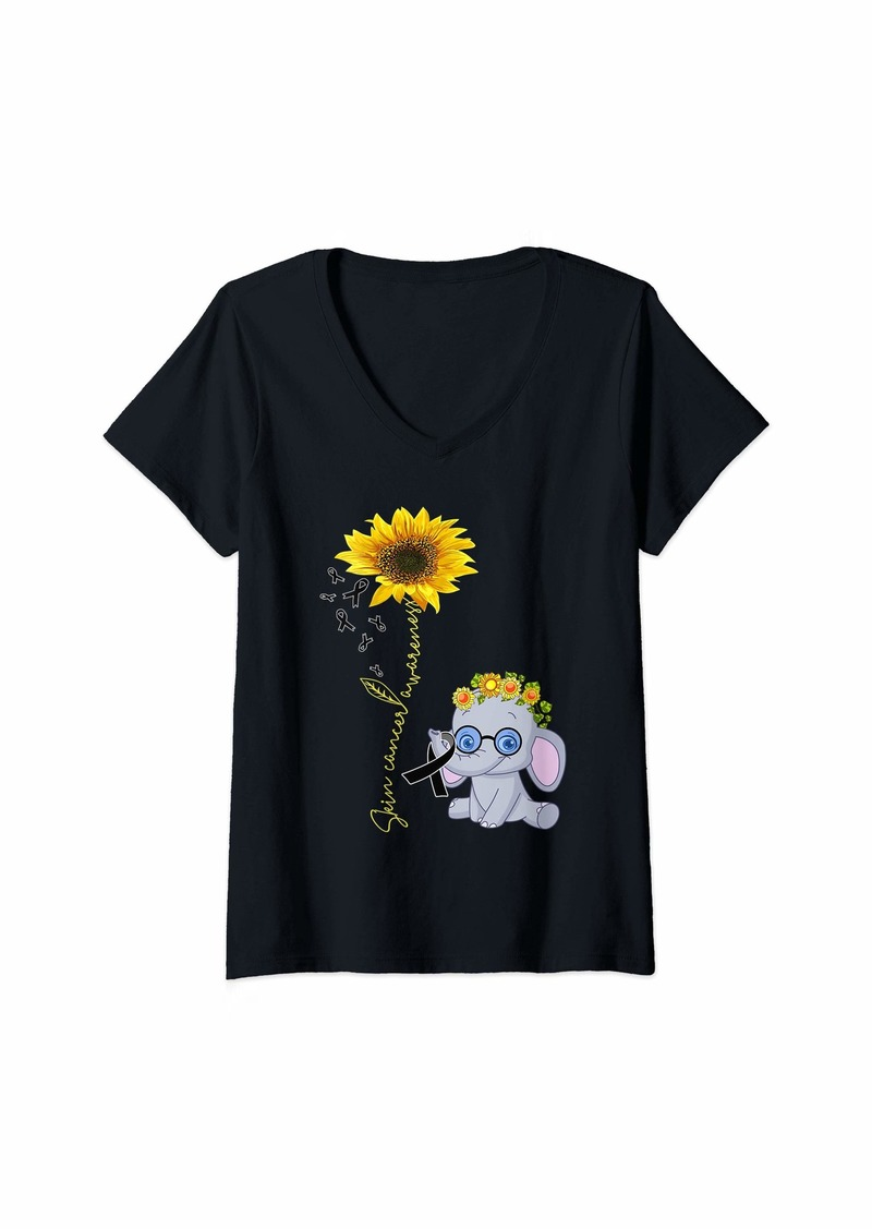Womens skin cancer hippie sunflower elephant V-Neck T-Shirt
