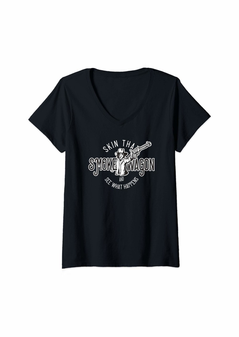 Womens Skin That Smoke Wagon Gift for Western Cowboy Lovers V-Neck T-Shirt