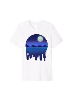 Sky Night moon and stars Blue and purple Premium T-Shirt