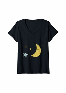 Sky Womens Moon And Stars V-Neck T-Shirt