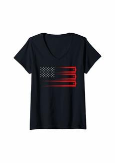 Sky Womens Patriot American Flag Stars Flying Navigate Navigation Pilot V-Neck T-Shirt