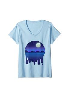 Womens Sky Night moon and stars  and purple V-Neck T-Shirt