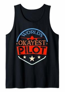 Sky Worlds Okayest Pilot American Flag Navigation Flight Pilot Tank Top