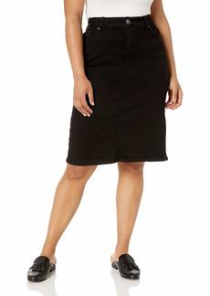 SLINK Jeans Women's Plus Size  Black Denim Slim Skirt