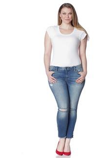 SLINK Jeans Women's Plus Size Side Vent Ankle with Frayed Hem Jean  W