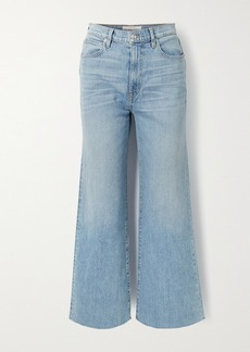 SLVRLAKE Grace Cropped Frayed High-rise Wide-leg Jeans