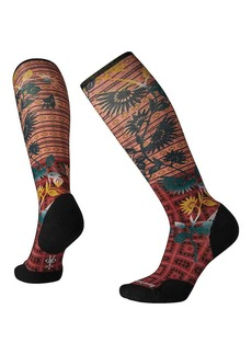 Smartwool Women's Compression Sightseeing Sunflower Printed Over The Calf Sock