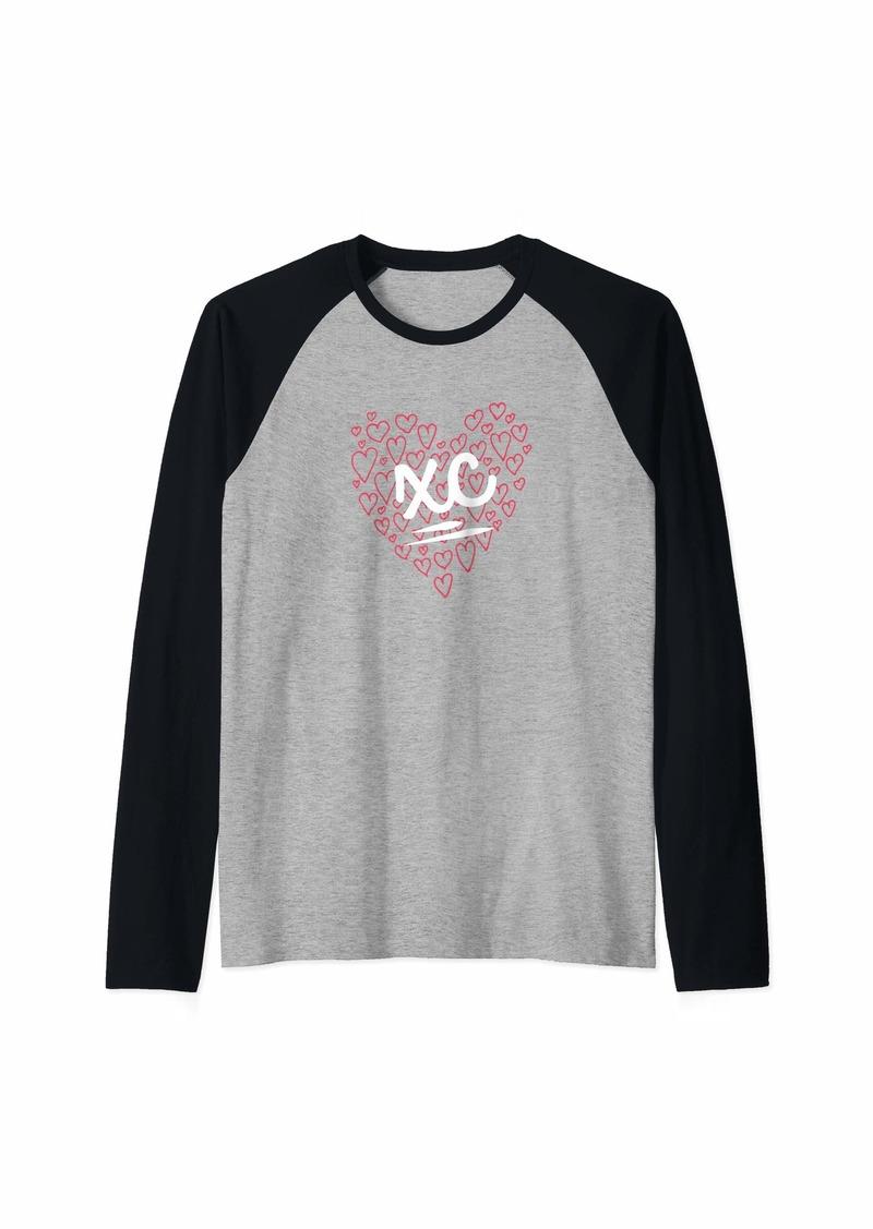 Smith Girls Women Cross Country Design XC with Hearts Raglan Baseball Tee