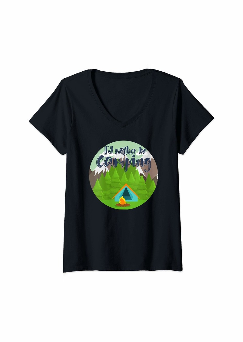 Smith Womens Camp Design I'd Rather be Camping with tent and campfire V-Neck T-Shirt