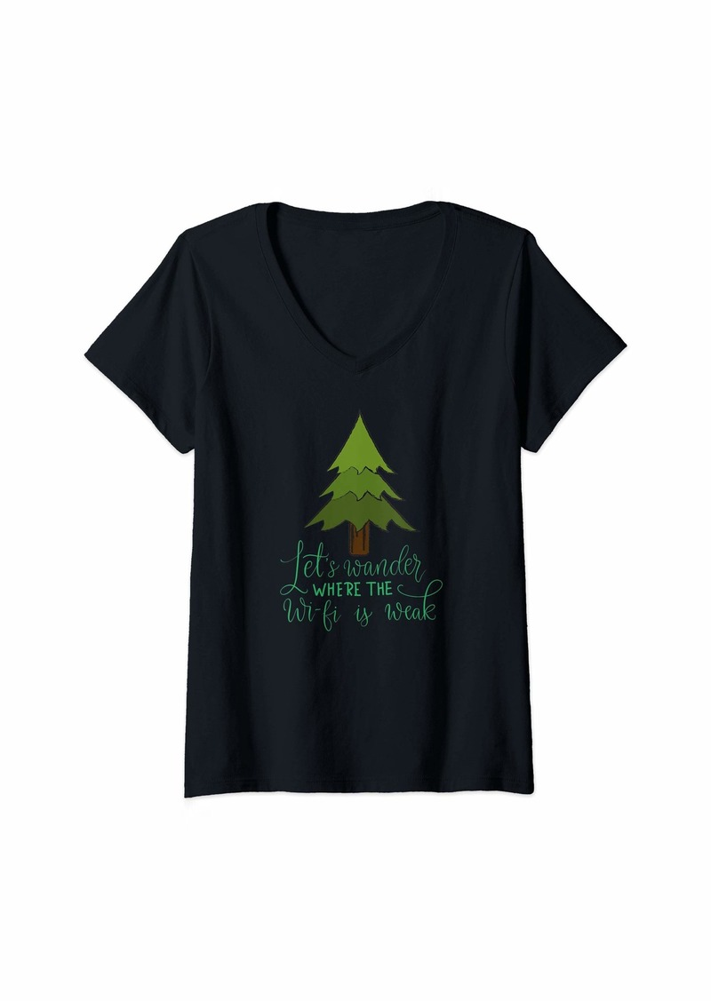 Smith Womens Camping Nature Design Let's Wander Where the Wi-fi is Weak V-Neck T-Shirt