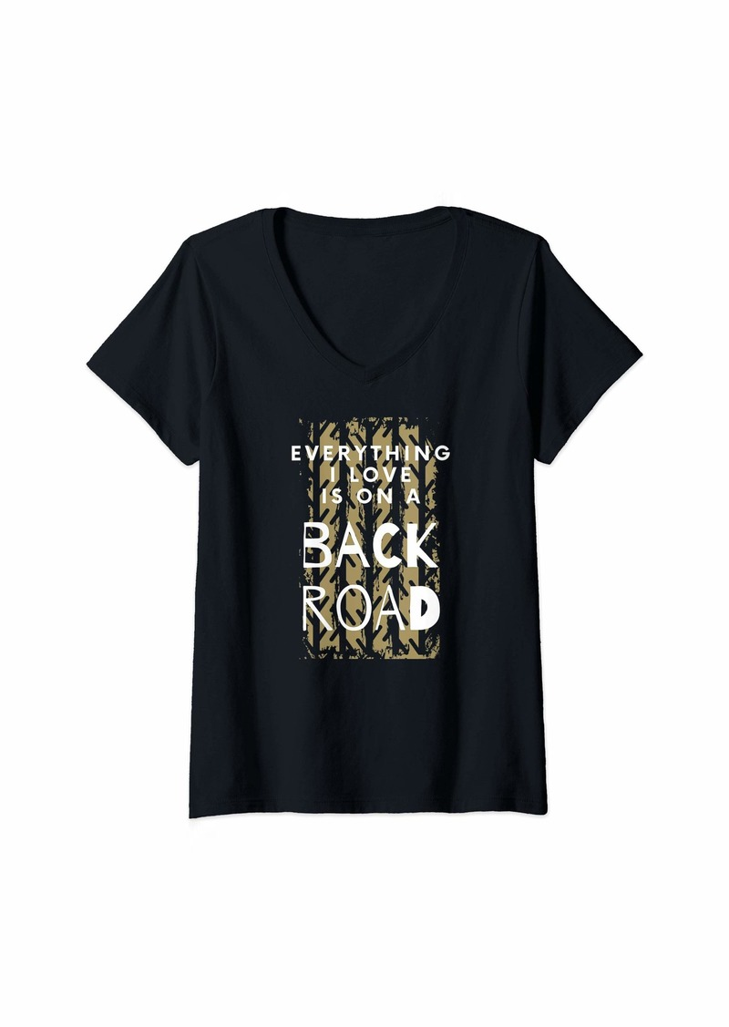 Smith Womens Everything I Love is on a Back Road V-Neck T-Shirt