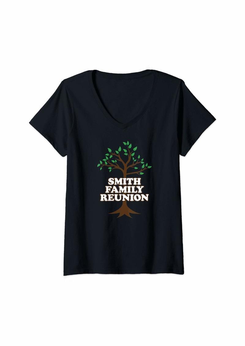 Womens Family Tree Smith Family Reunion V-Neck T-Shirt