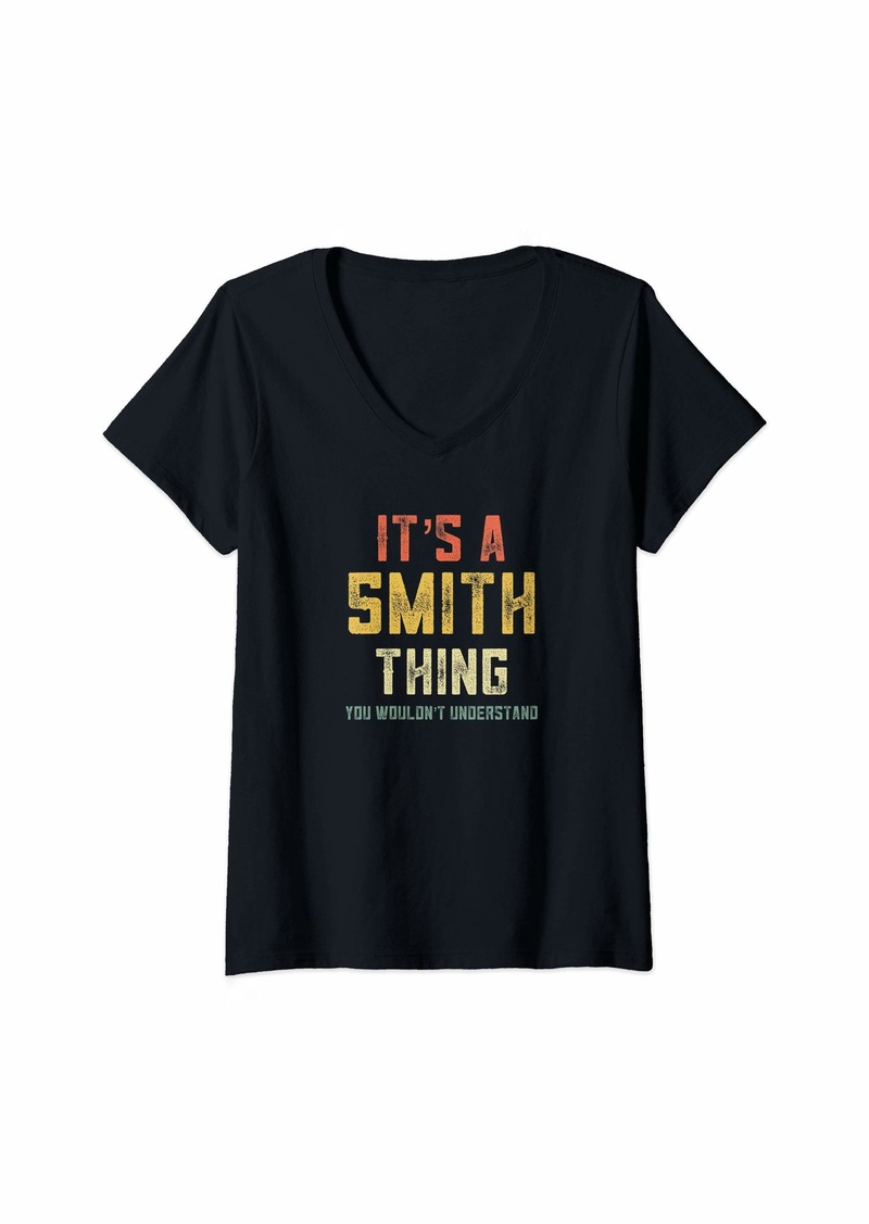 Womens It's A Smith Thing You Wouldn't Understand Matching Retro V-Neck T-Shirt