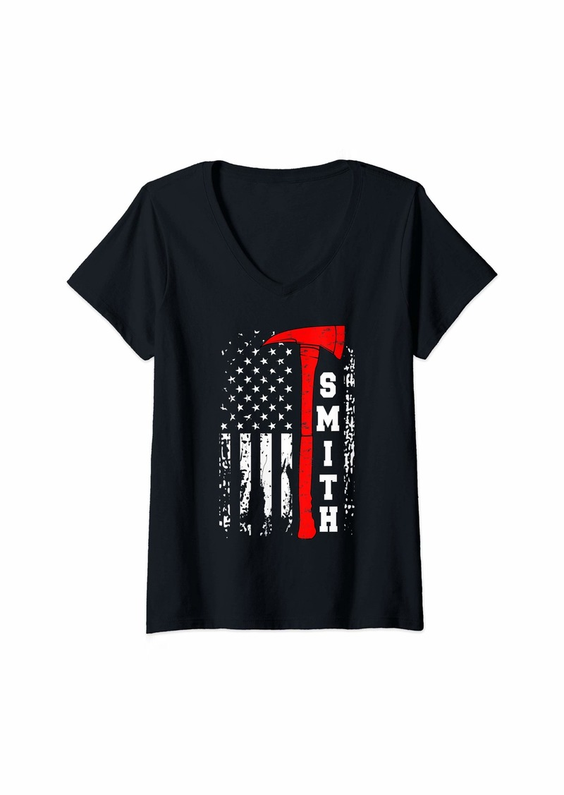 Womens Smith Firefighter Shirt Surname Smith Family Gift V-Neck T-Shirt