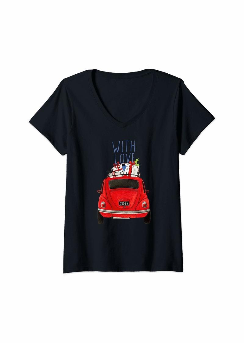 Smith Womens Tacky Christmas Car Design With Love V-Neck T-Shirt
